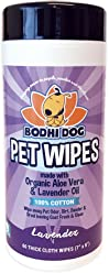 Pet Grooming Wipes, All Natural 100% Cotton Lavender and Organic Aloe, Large Wet & Thick Deodorizing and Cleaning Best for Dog & Cat Paws & More