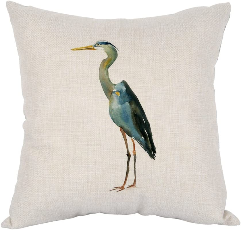 Moslion Heron Pillow,Home Decorative Throw Pillow Cover Watercolor Blue Heron Cotton Linen Cushion for Couch/Sofa/Bedroom/Livingroom/Kitchen/Car 18 x 18 inch Square Pillow case