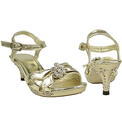 Amazon.com | Girls Strappy Flower Rhinestones High Heel Gold ...