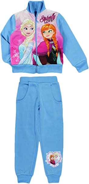 Disney Frozen 2 Tuta Sportiva da Ginnastica Jogging Felpata con Zip e Cappuccio Autunno Inverno Elsa e Anna Bambina