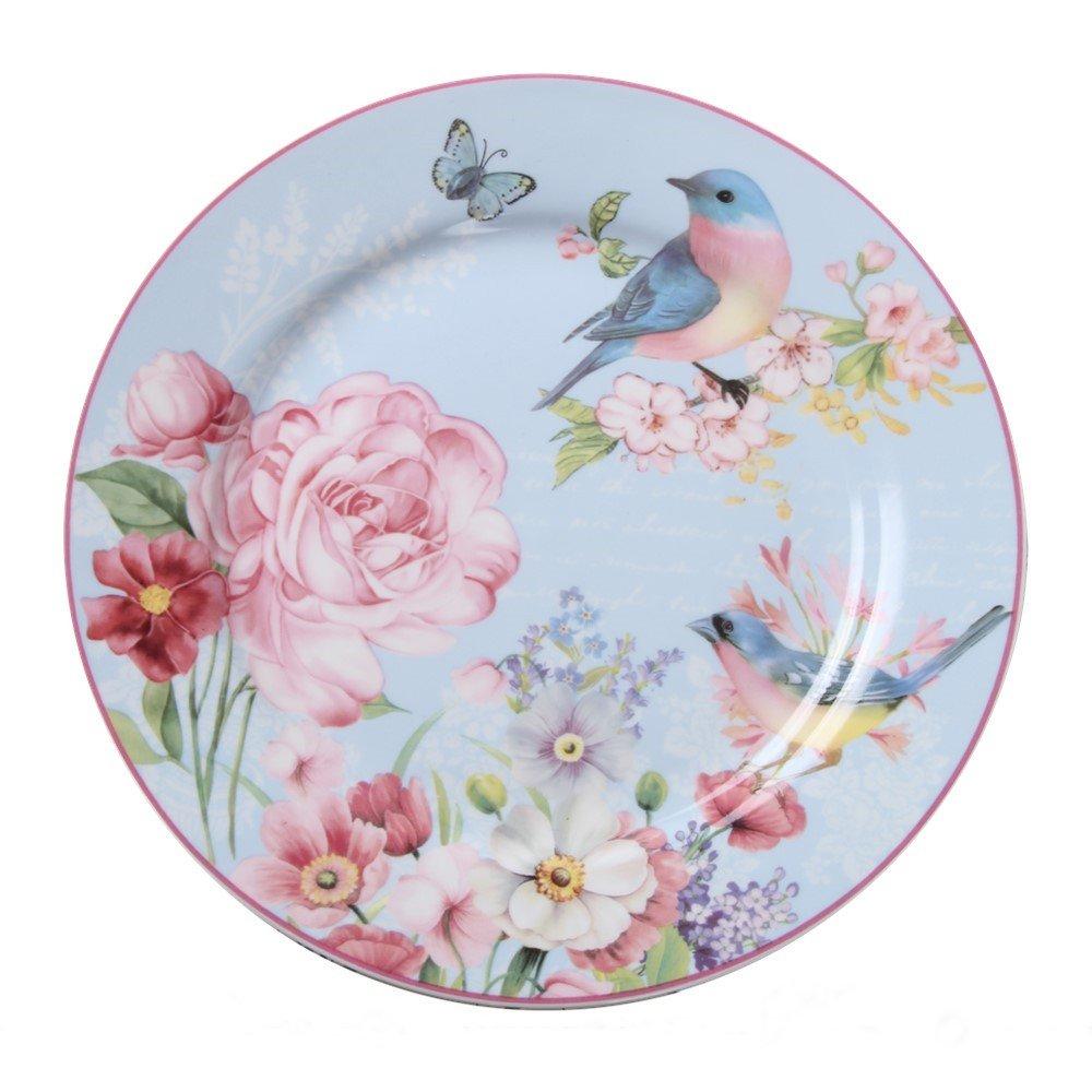 Salad/Dessert/Bread&Butter Plate Set of 2 Royal Fine Bone China, Vintage Bird Floral Plate, 8-Inch (Blue)
