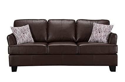 Kings Brand Furniture - Alexandria Faux Leather Sofa Hide a Bed Sleeper,  Brown, Queen Size