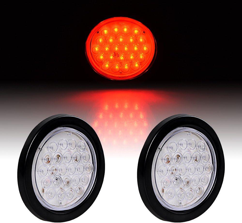 2pcs 4 Round RED 24-LED Brake Stop Running Light Tail Lamp Grommet Plug Kit Truck Trailer UTE UTV