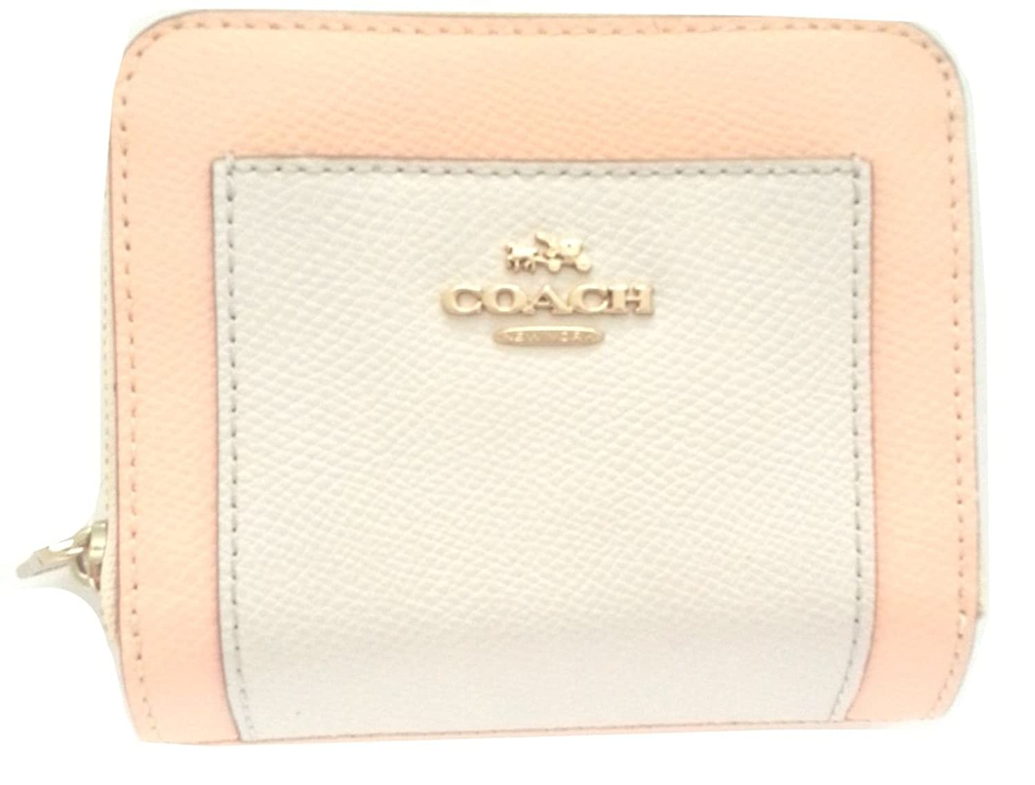 Coach Color Block Leather Bifold Two Tone Medium Wallet Apricot/Chalk