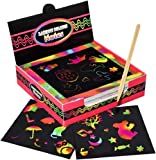100 pcs Rainbow Scratch Paper, Scratch Off Mini Notes + 2 Wooden Stylus + 2 Drawing Template, Arts and Crafts, Rainbow…