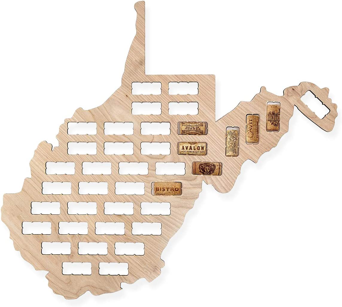 Wooden Shoe Designs Wine Cork Map - West Virginia | Wall Mounted Wine Cork Holder Decor Display Art | A Great Gift for Wine Lovers and Collectors