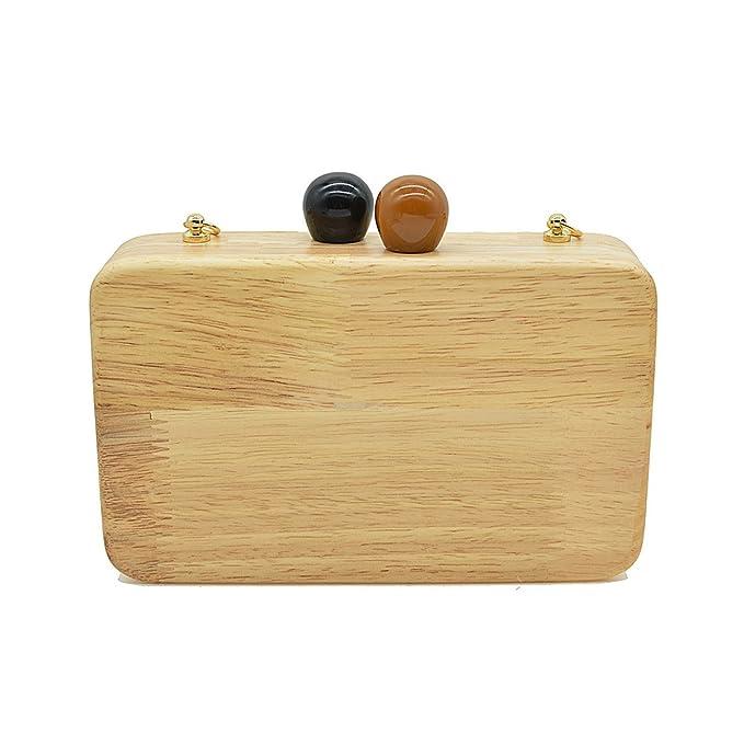 Flada madera bolsa de madera bolso de embrague para las mujeres bolso bandolera con metal rectángulo de la cadena: Amazon.es: Equipaje
