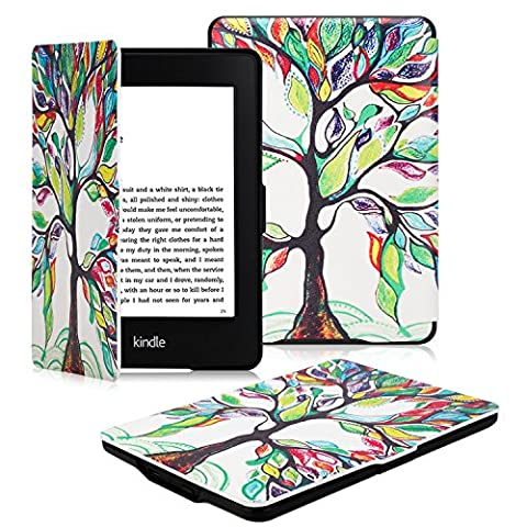 OMOTON Kindle Paperwhite Case Cover -- The Thinnest and Lightest PU Leather Smart Cover for All-New Kindle Paperwhite (Fits All versions: 2012, 2013, 2014 and 2015 All-new 300 PPI Versions), Love (Waterproof Kindle Voyage Case)
