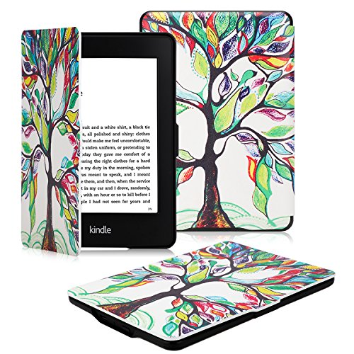 OMOTON Kindle Paperwhite Case Cover -- The Thinnest and Lightest PU Leather Smart Cover for All-New Kindle Paperwhite (Fits All versions: 2012, 2013, 2014 and 2015 All-new 300 PPI Versions), Love Tree