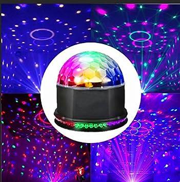 Luci Palco Vitutech Luci Discoteca Mini magica fase Lampada da Discoteca rotante sfera luci psichedeliche LED RGB effetto Natale DJ Magic Ball cristallo Attivazione vocale StagelightV