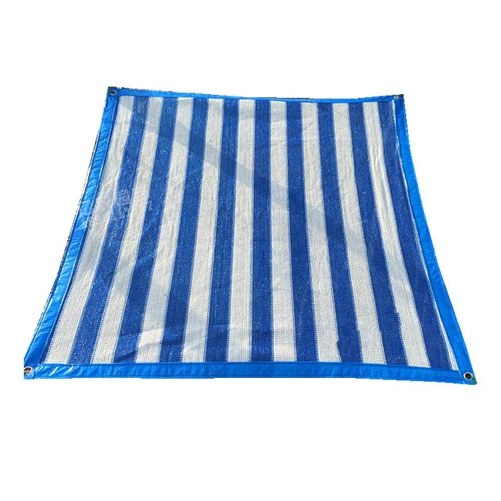 FEIFEI シェードネット90%日焼け止めシェードネットサンシェードセイルクロスシェードメッシュタープ、花、植物、パティオ芝生用トップシェードクロス (色 : Blue+white stripes, サイズ さいず : 4×6m) 4×6m Blue+white stripes B07PS3HP9J
