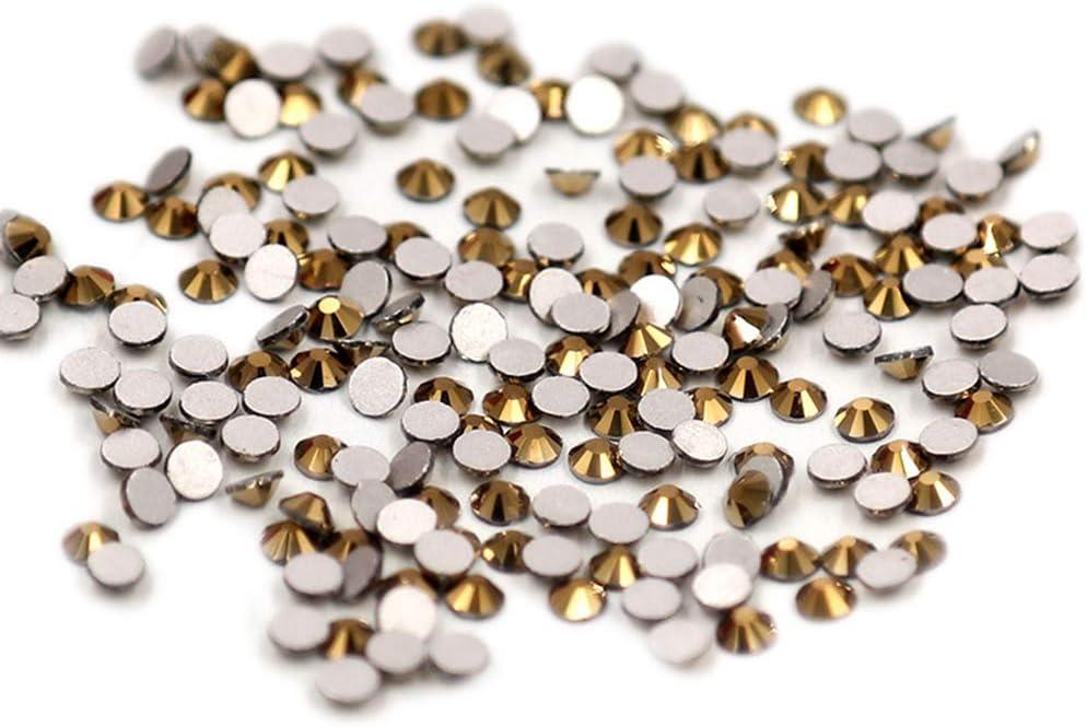 JUNGEN 1440 Piezas Diamante de imitación de espalda plana Cristal redondo Vidrio coloreado Piedra preciosa coloreada 3D para Diseño de uñas de arte (Oro 5)