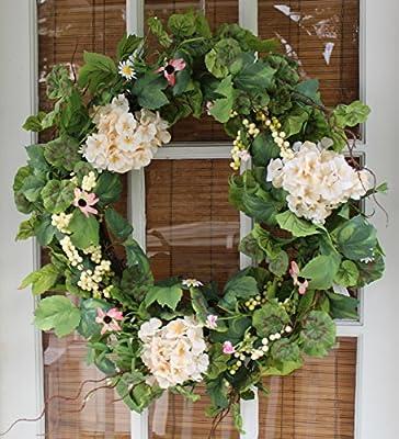 Cottage Garden Silk Spring Door Wreath 22 Inch