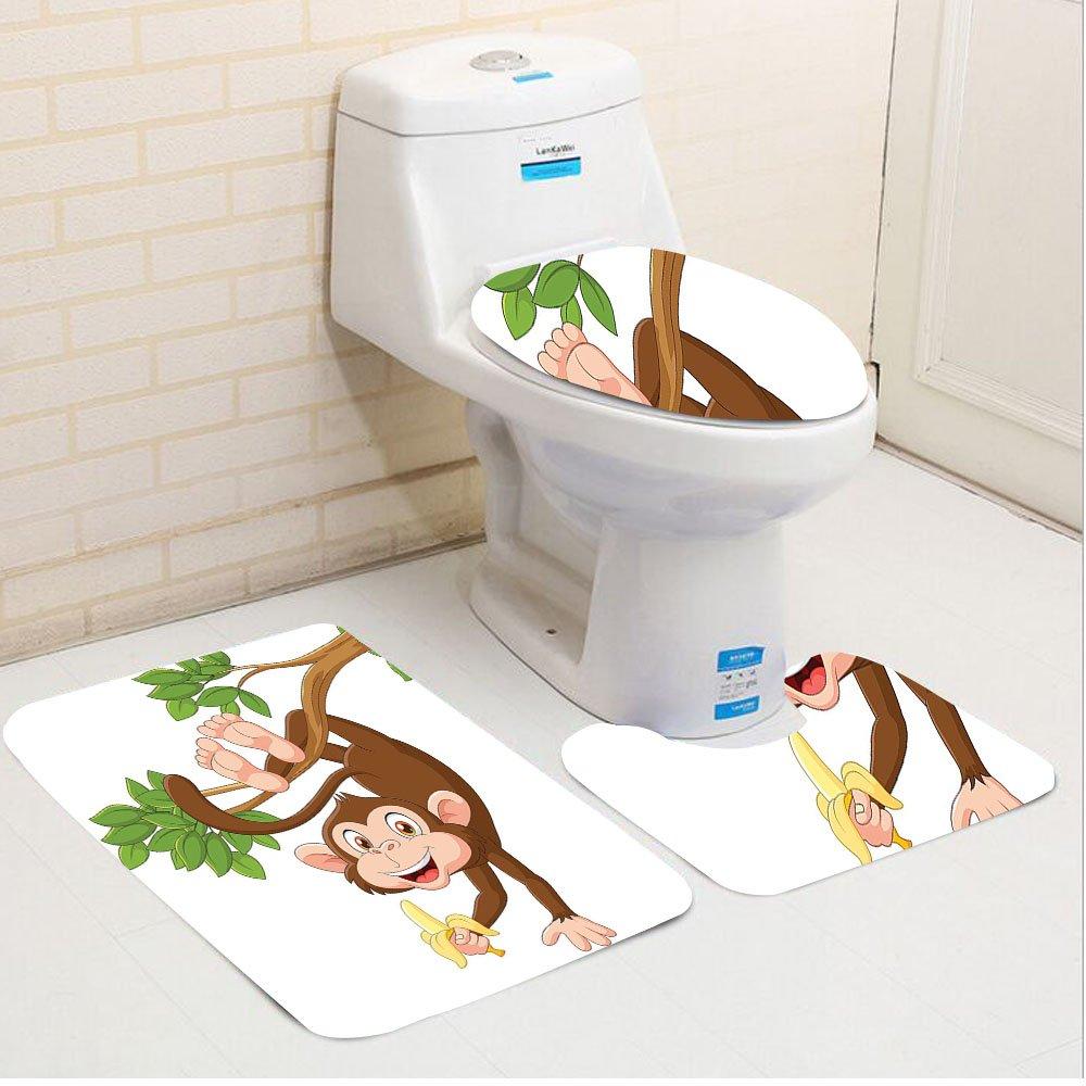 Keshia Dwete three-piece toilet seat pad customCartoon Funny Monkey From Tree And Holding Banana Jungle Animals Theme Mascot Print Chocolate White