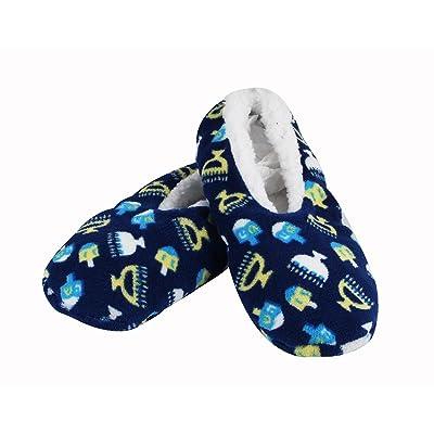 Zion Judaica Hanukkah Snuggle Slippers (Adult M Shoe 5-9): Health & Personal Care