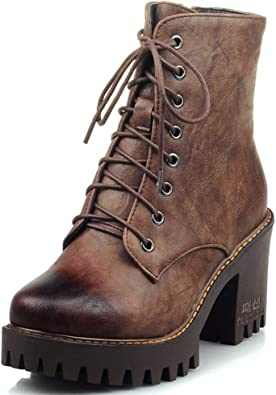 LADIES WOMEN/'S LOW BLOCK HEEL ANKLE COMBAT CHUNKY LACE UP FASHION BOOTS SIZE 3-8