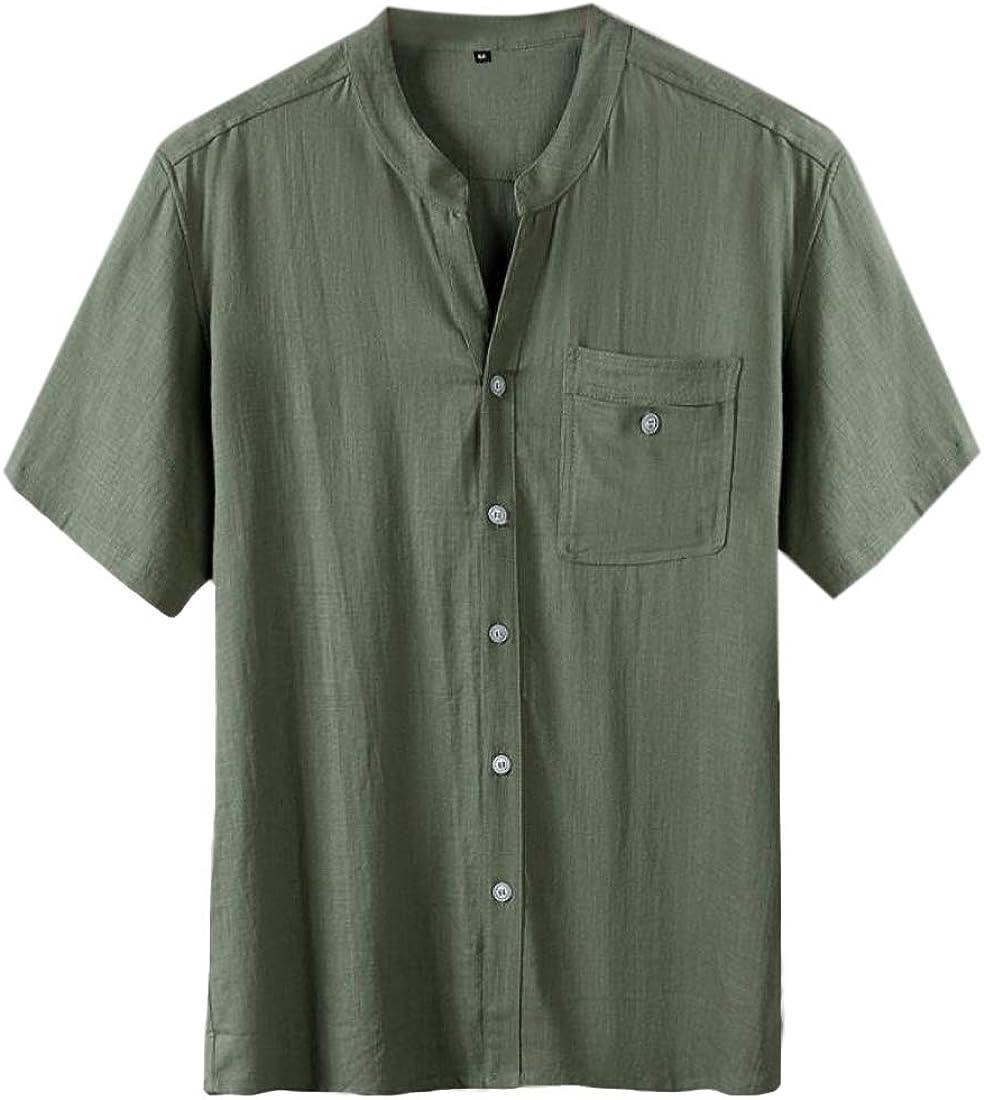HTOOHTOOH Men Fashion Cotton Linen Short Sleeve Button Down Shirts Summer Casual Shirts