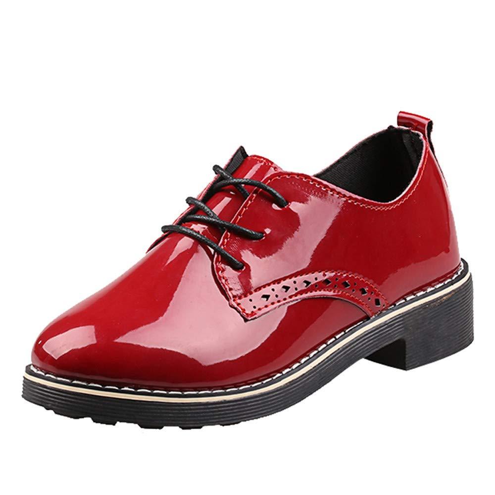 22b67405a59f9 Amazon.com: Hunzed Women Shoes Vintage Shiny Leather Square with ...
