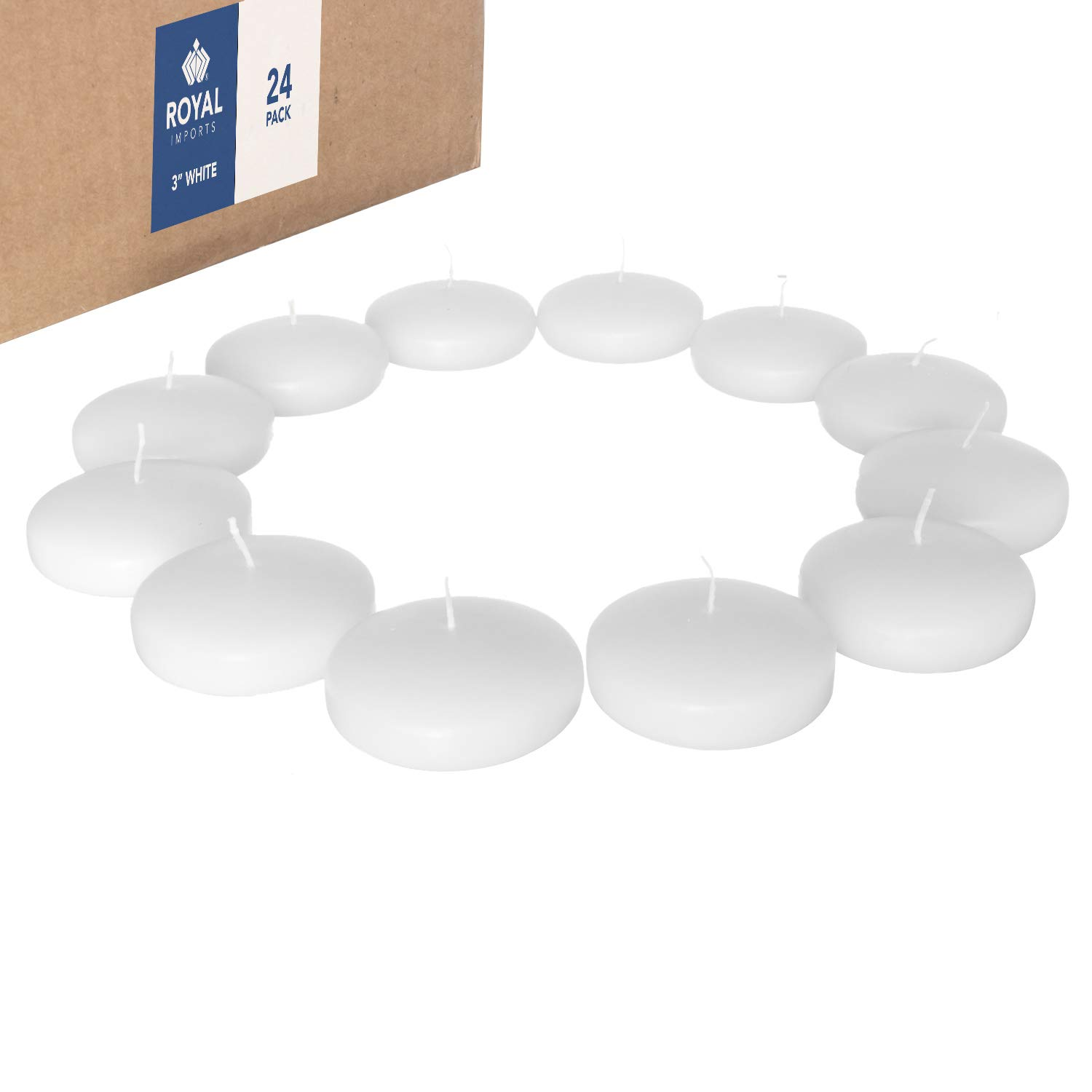 Royal Imports Floating Candles Unscented Discs for Wedding, Pool Party, Holiday & Home Decor, 3 Inch, White Wax, Bulk Set of 24 by Royal Imports