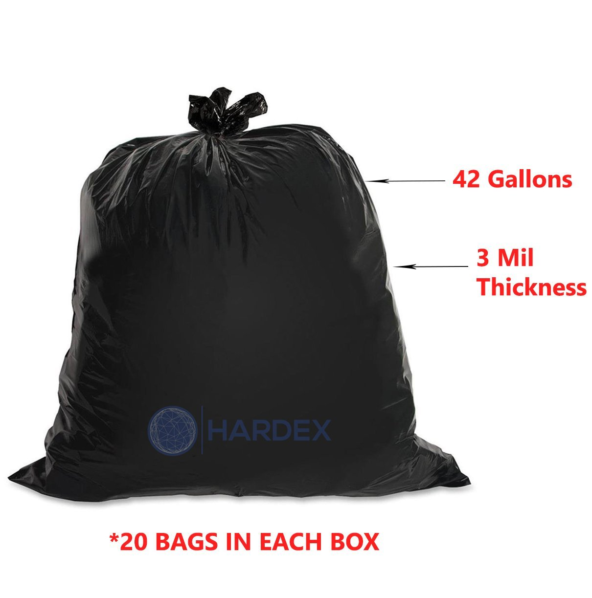 Hardex Puncture Resistant Heavy Duty Contractor Trash Bag, 42 Gallon Capacity, 3 Mil, 20 Count
