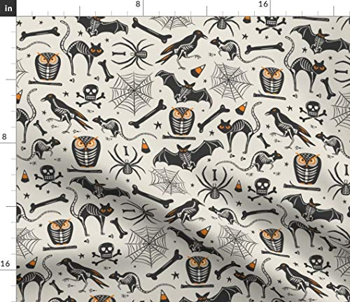 Halloween Fabric - Halloween Skeleton Owl Cat Raven Halloween Vintage Retro Bat Skeleton Black Spooky by Heatherdutton Printed on Petal Signature Cotton Fabric by The Yard -