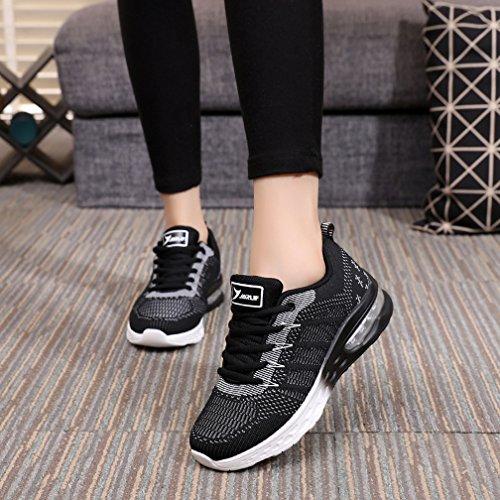 JARLIF Women's Athletic Running Sneakers Air Fitness Sport Workout Gym Tennis Walking Shoes Black 8 B(M) US by JARLIF (Image #6)