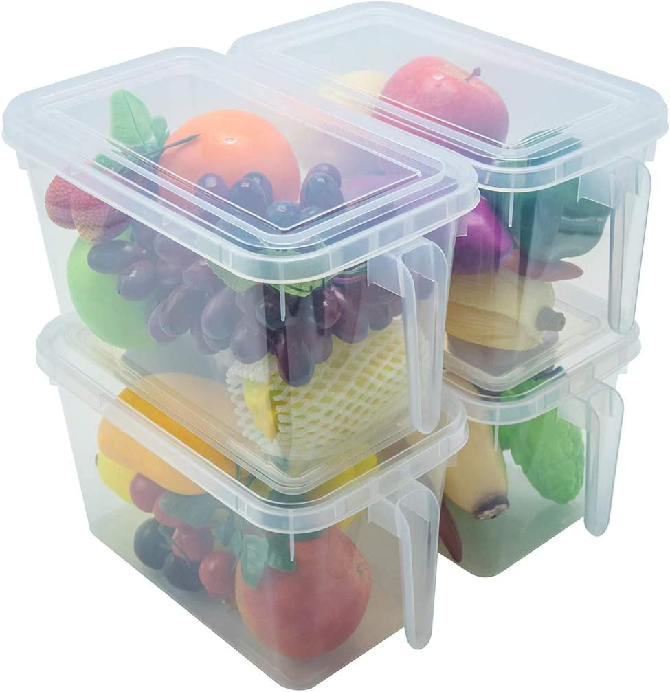 Kitchen Organizer Fridge Freezer Storage - 4 Sets x 4L Stackable Large Plastic Boxes Reusable Containers with Sturdy Handle To Keep Fresh for Produce, Meat, Cereal, Fruits, Vegetables and Fish