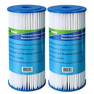 "Icepure ICP-PPL10BB Big Blue Pleated Sediment Compatible with DuPont WFHDC3001,GE FXHSC, Culligan R50-BBSA, Pentek R50-BBWhole House 10"" x 4.5"" Sediment Filter 2Pack"