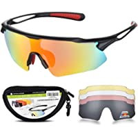 SNOWLEDGE Cycling Glasses UV400 Protection Outdoor Sport Sunglasses with 5 Interchangeable Lenses for Men Women Golfing Driving Racing Skiing