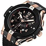 Megir Mens Fashion Silicone Strap Sports Quartz Watches 24 Hours Analog Chronograph Wristwatch for Man