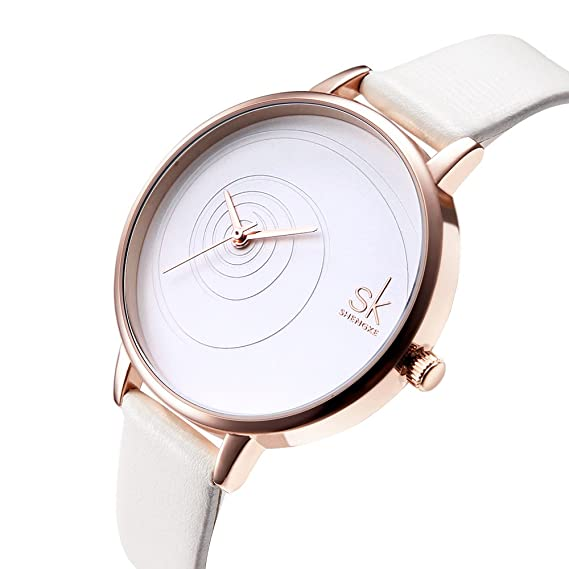 SK Women Watches Leather Band Luxury Quartz Watches Girls Ladies Wristwatch (QQ White)