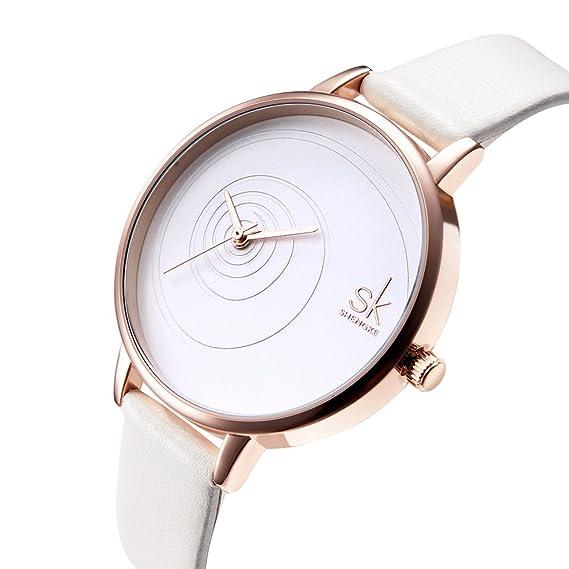 SK Women Watches Leather Band Luxury Quartz Watches Girls Ladies Wristwatch (QQ White)