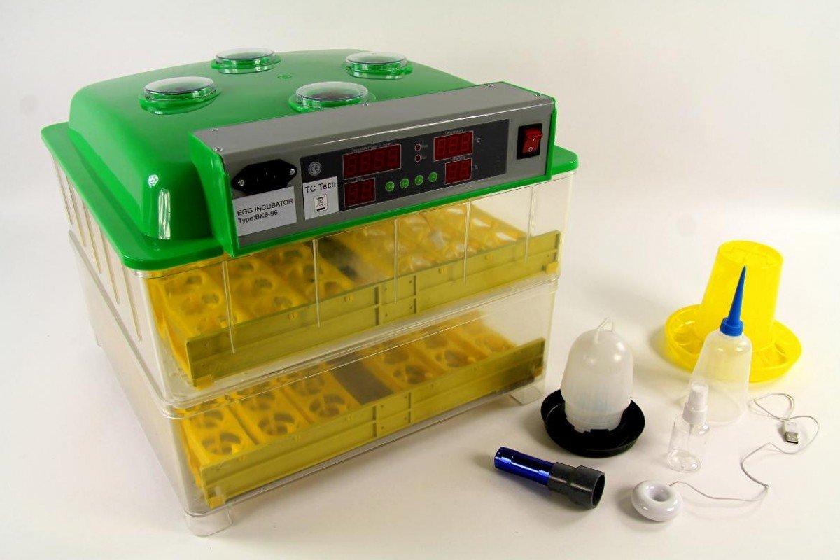 Brutmaschine BK96ProActive + Tränke und Futterautomat, 96 Eier, aktiver Lufbefeuchter, Brutautomat Inkubator