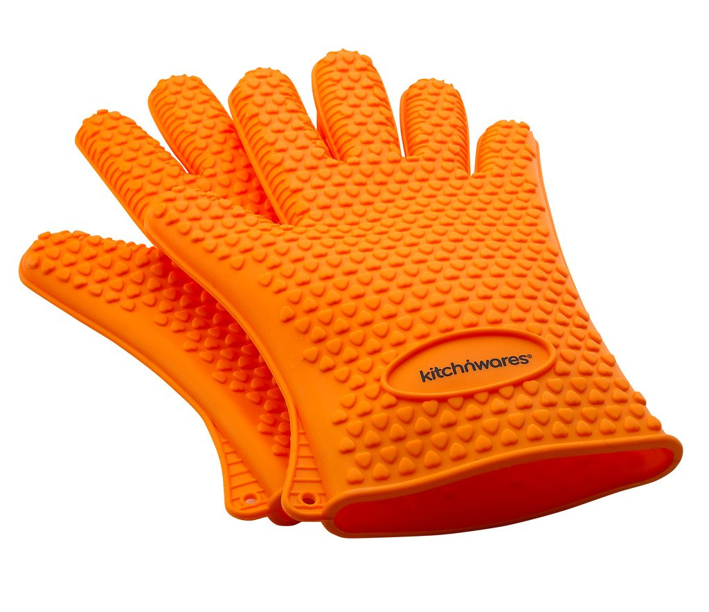 Heat Resistant Silicone Gloves (Orange) - Great for Use In Kitchen Handling High Temperature Food- Protective Oven, Grilling, Baking, Smoking & Cooking Gloves - Easier Than Mitts-By Kitch N' Wares