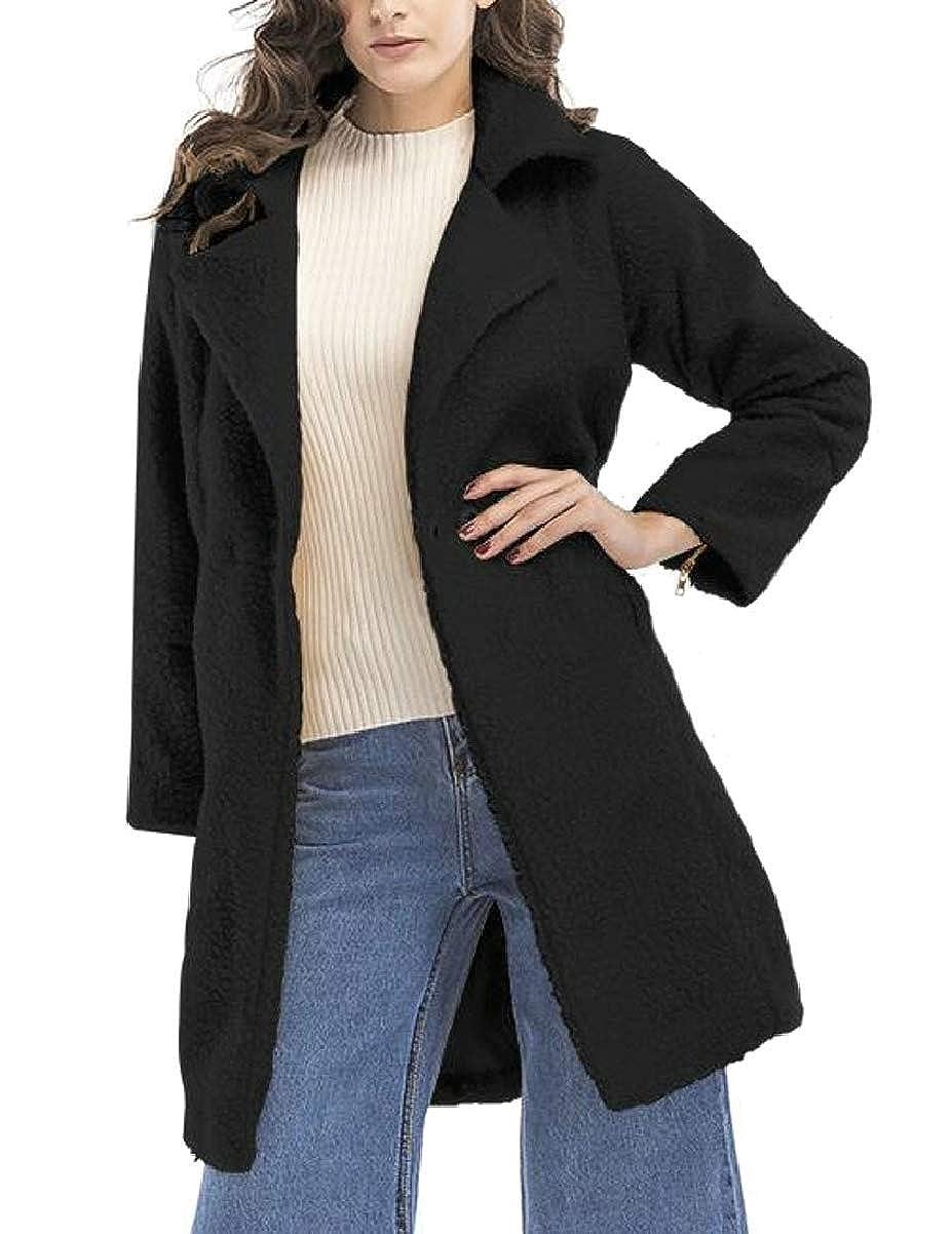 Black ZXFHZSCA Womens Long Sleeve Winter Solid Thicken Woolen Coat Overcoat