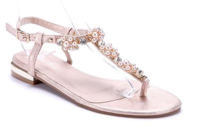 d6005e25231058 Schuhtempel24 Damen Schuhe Zehentrenner Sandalen Sandaletten Bronze flach  Ziersteine