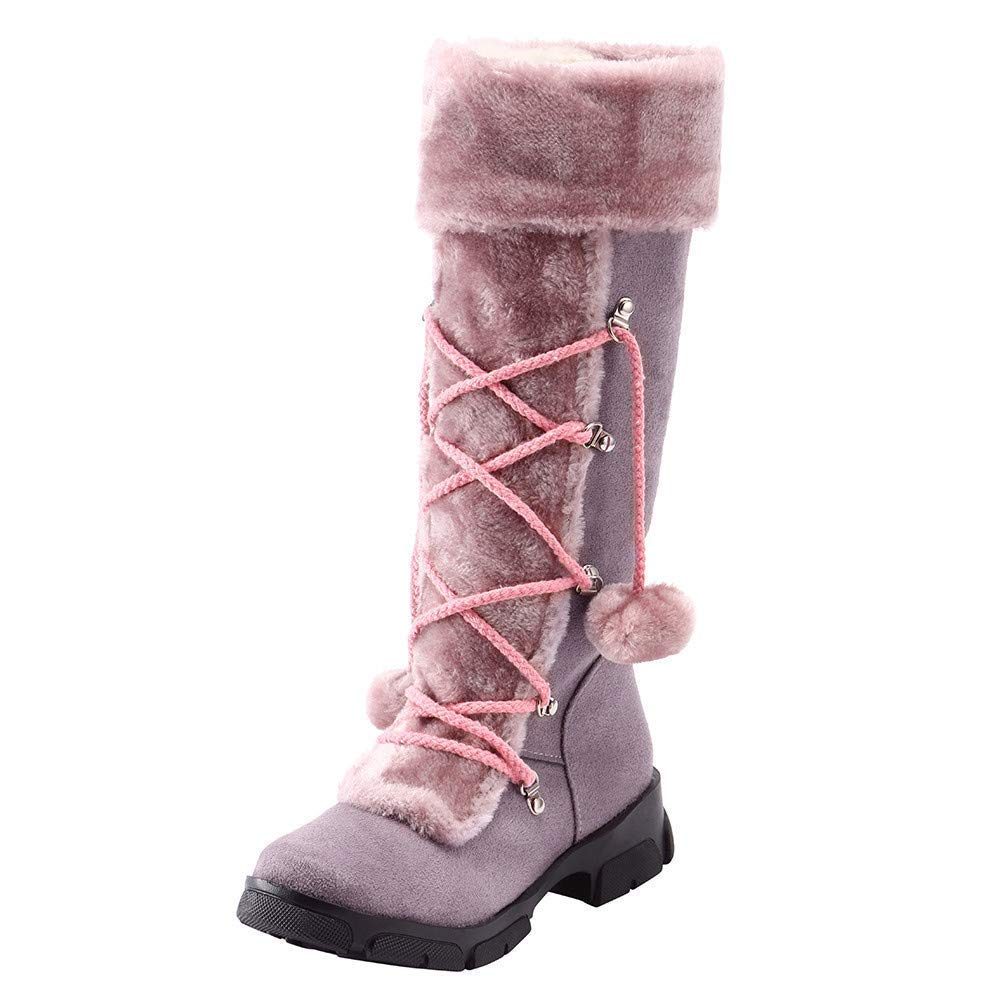 Damen Schuhe Frauen Elegant Stiefel Stiefeletten Wildleder Haarball Round Toe Square Heel Halten Warme Reißverschluss Schneestiefel WinterStiefel (Farbe   Lila, Größe   42 EU)