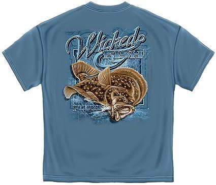 Amazon.com: Fluke Flounder Fishing 100% Cotton Casual Men's Shirts ...