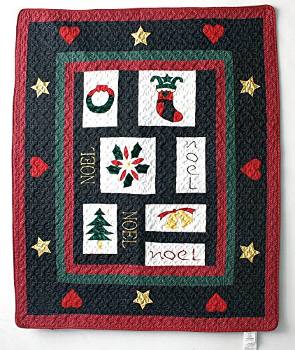 Cozy Line Home Fashions Christmas Embroidered Quilted Throw Blanket (Noel Love)