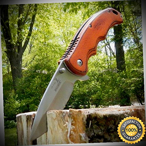 8'' ELK RIDGE Wood Gentleman SPRING ASSISTED OPEN Hunting Folding POCKET KNIFE - outdoor for camping hunting