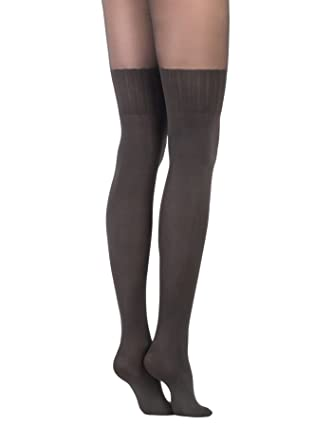 ad1123923dc Conte Women s Black (Nero) Opaque Pantyhose Tights with Stockings Imitation  Pattern and Sheer Top Erica at Amazon Women s Clothing store