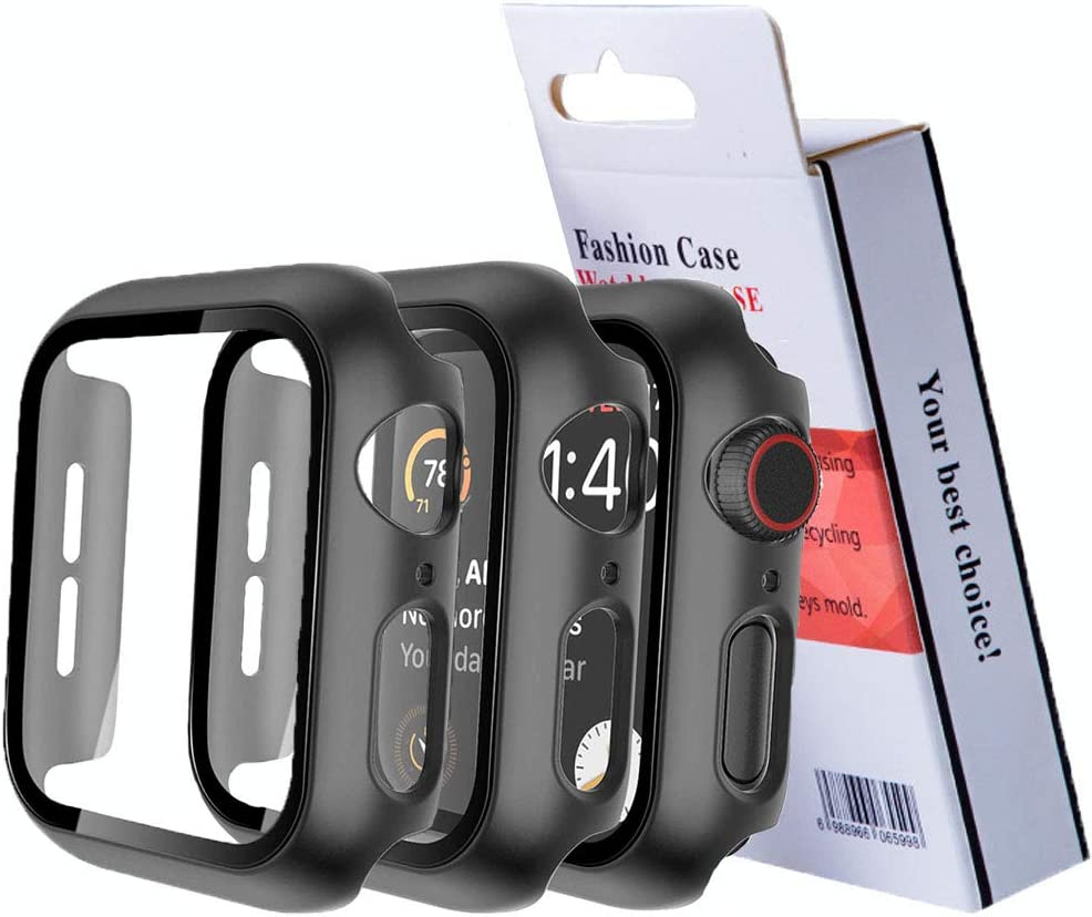 2 Pack Hard Case Compatible for Apple Watch Series 3 2 1 38mm Built in 9H Tempered Glass Screen Protector Slim Bumper Touch Sensitive Full Protective Cover Compatible for Apple Watch 38mm-Black