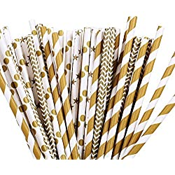 GAKA 100pcs Paper Drinking Straw Gold Star, Chevron, Stripe Paper Straws for Birthdays, Weddings, Baby Showers, Celebrations and Parties