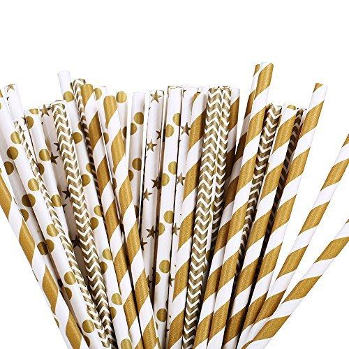 100pcs Paper Drinking Straw Gold Star, Chevron, Stripe Paper Straws for Birthdays, Weddings, Baby Showers, Celebrations and -