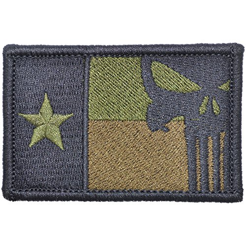 Texas State Flag with Punisher Skull - 2x3 Hat Patch