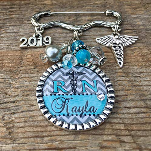 Nursing Pinning Ceremony, RN jewelry, Nurse Graduation, LPN, CNA, NP, RN gifts, RN brooch, Nurse graduate, Class of 2019, caduceus, RN pin, nurse jewelry, personalized gift ()