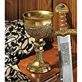 Design Toscano Golden Chalice of King Arthur Medieval Decor Gothic Goblet Sculpture, 9 Inch, Polyresin, Gold