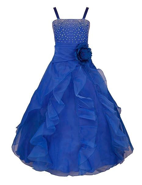 YiZYiF Vestido Elegante de Princesa de Flor Tutú Vestido Largo Fiesta Cumpleaños Boda Ceremonia Vestidos para