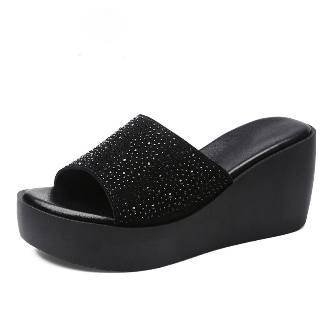 Sommer Damen Pantoffeln Sandalen Mode High Heel dicken Boden Pantoffeln schwarz 39