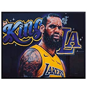 Lebron James LA Lakers Graffiti Wall Art, Home Decor - Street Art Mural Poster, Print - Gift for Husband, Men, Teens, Basketball, Sports Fans, Room Decorations for Man Cave, Den, Bedroom, 8x10